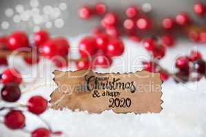 Red Christmas Decoration, Snow, Label, Merry Christmas And A Happy 2020