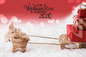 Reindeer, Sled, Snow, Red Background, Glueckliches 2020 Mean Happy 2020