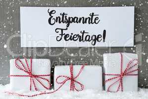 Three Gifts, Sign, Snow, Entspannte Feiertage Means Merry Christmas, Snowflakes