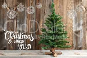 Christmas Tree, Calligraphy Merry Christmas And Happy 2020, Decoration