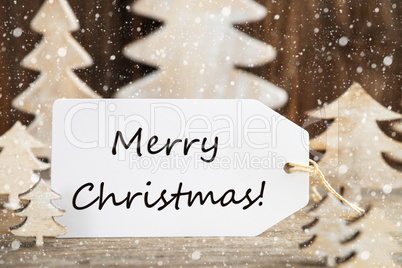 Christmas Tree, Label With English Text Merry Christmas, Snowflakes