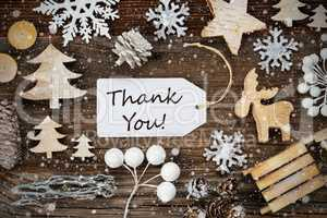 One Label, Frame Of Christmas Decoration, Text Thank You, Snowflakes