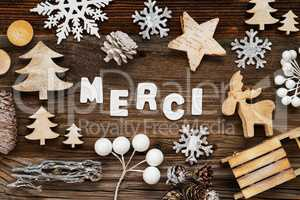 Wooden Christmas Decoration, Merci Means Thank You, Tree And Sled