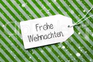 Green Wrapping Paper, Label, Frohe Weihnachten Means Merry Christmas, Snowflakes