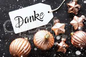 Label, Golden Decoration, Danke Means Thank You, Snowflakes