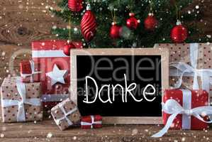 Christmas Tree, Gift, Snowflakes, Text Danke Means Thank You