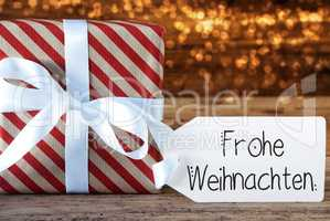 Christmas Present, Label, Frohe Weihnachten Means Merry Christmas, Lights