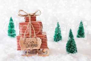 Sled, Present, Snow, Happy Weekend, Gray Background