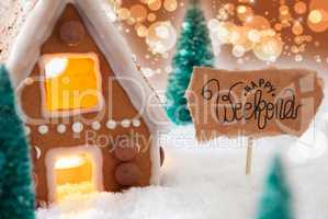 Gingerbread House, Snow, Happy Weekend, Golden Background