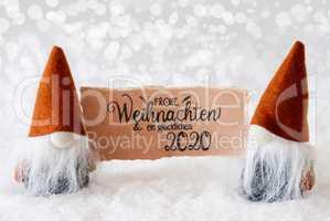 Santa Claus, Orange Hat, Glueckliches 2020 Means Happy 2020, Gray Background