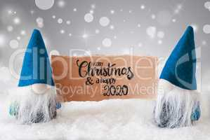 Santa Claus, Blue Hat, Merry Christmas And A Happy 2020, Gray Background