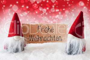 Santa Claus, Red Hat, Frohe Weihnachten Means Merry Christmas, Red Background