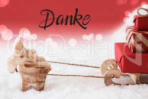 Reindeer, Sled, Snow, Red Background, Danke Means Thank You