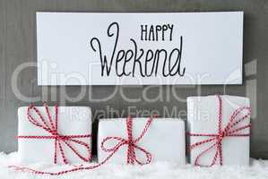 Three Gifts, Sign, Snow, Happy Weekend, Concrete Background