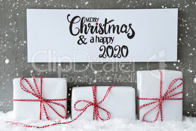 Three Gifts, Sign, Snow, Merry Christmas And A Happy 2020, Snowflakes