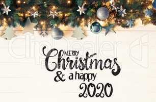 Retro Turquoise Christmas Banner, Merry Christmas And A Happy 2020