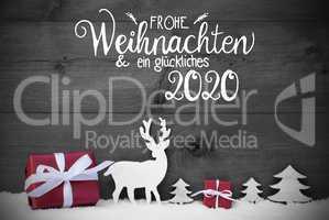 Reindeer, Gift, Tree, Snow, Glueckliches 2020 Means Happy 2020