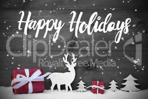 Reindeer, Gift, Tree, Snowflakes, Happy Holidays, Snow