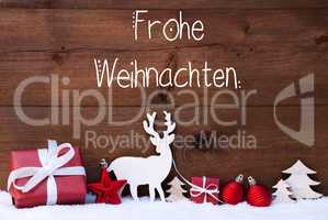 Reindeer, Gift, Tree, Ball, Snow, Frohe Weihnachten Means Merry Christmas