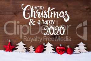 Tree, Red Ball, Snow, Merry Christmas And A Happy 2020