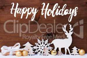 Reindeer, Gift, Tree, Golden Ball, Snow, Happy Holidays