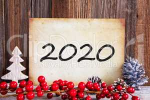 Red Christmas Decoration, Old Paper With Text 2020