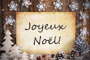 Old Paper, Christmas Decoration, Joyeux Noel Means Merry Christmas, Snowflakes