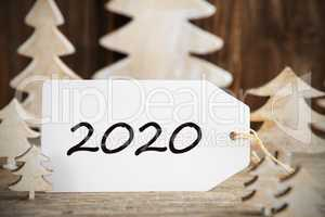 White Christmas Tree, One Label With Text 2020