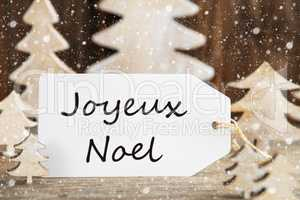 Christmas Tree, Label, Joyeux Noel Means Merry Christmas, Snowflakes