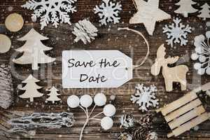 Label, Frame Of Christmas Decoration, Text Save The Date, Snowflakes