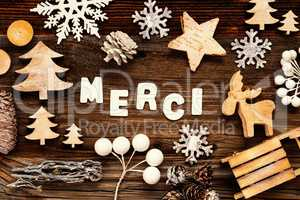 Christmas Decoration, Merci Means Thank You, Tree And Sled