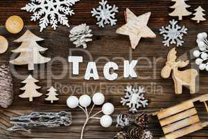 Wooden Christmas Decoration, Tack Means Thank You, Tree And Sled