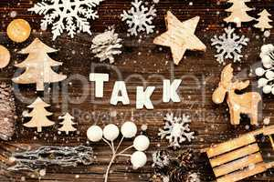 Christmas Decoration, Takk Means Thank You, Tree And Sled, Snowflakes