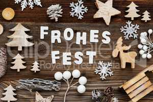 Wooden Decoration, Frohes Fest Means Merry Christmas, Tree And Sled