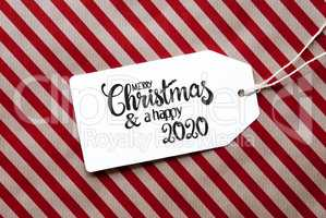 Red Wrapping Paper, Label, Merry Christmas And A Happy 2020