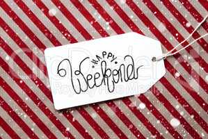 Red Wrapping Paper, Label, Happy Weekend, Snowflakes