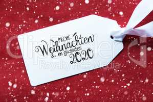 Red Background, Label, Glueckliches 2020 Means Happy 2020, Snowflakes