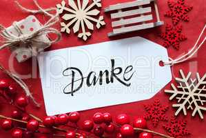 Bright Red Christmas Decoration, Label, Danke Means Thank You