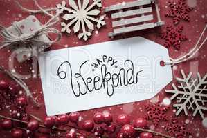 Red Christmas Decoration, Label With Happy Weekend