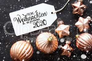 Label, Golden Decoration, Glueckliches 2020 Means Happy 2020, Snowflakes