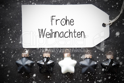 Black Christmas Ball, Label, Frohe Weihnachten Means Merry Christmas, Snowflakes
