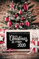Christmas Tree, Gifts, Snowflakes, Merry Christmas And A Happy 2020