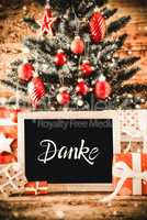 Bright Christmas Tree, Gifts, Snowflakes, Danke Means Thank You