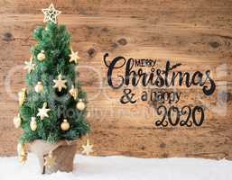 Christmas Tree, Wooden Background, Snow, Merry Christmas And A Happy 2020