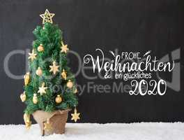 Christmas Tree, Black Background, Snow, Glueckliches 2020 Means Happy 2020