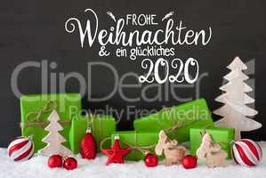 Snow, Tree, Gift, Ball, Glueckliches 2020 Means Happy 2020