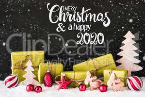 Snowflakes, Gift, Tree, Ball, Merry Christmas And A Happy 2020