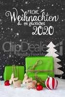 Green Gift, Ball, Snowflakes, Tree, Glueckliches 2020 Means Happy 2020