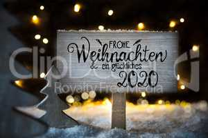 Christmas Tree, Snow, Sign, Calligraphy Glueckliches 2020 Means Happy 2020