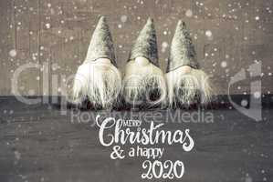 Santa Claus, Cement Background, Snowflakes, Merry Christmas And A Happy 2020